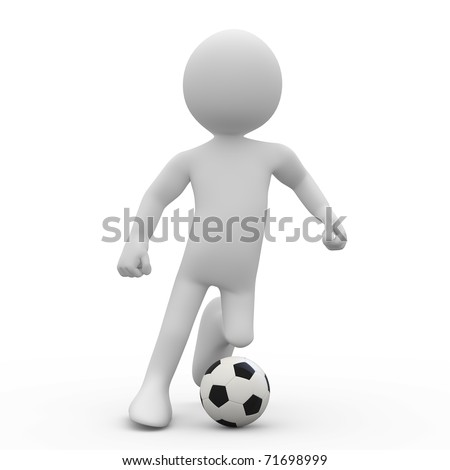 Football player dribbling with a ball - stock photo