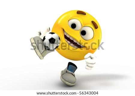 Football player emoticon - stock photo
