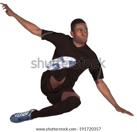 Football player in black jumping on white background - stock photo