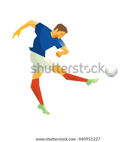 Football player, striking the ball with his foot. Isolated. - stock photo