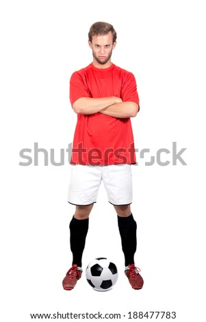 Football player with a ball isolated in white - stock photo