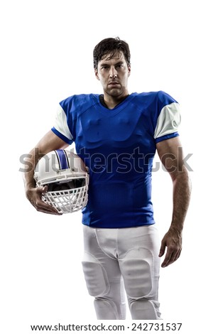 Football Player with a blue uniform on a white background. - stock photo