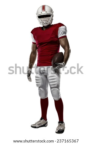 Football Player with a red uniform on a white background. - stock photo