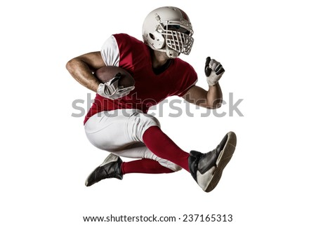 Football Player with a red uniform Running on a white background. - stock photo