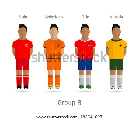 Football players. Group B - Spain, Netherlands, Chile, Australia. See also vector version. - stock photo