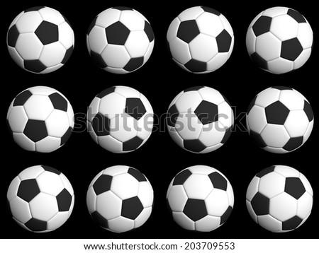 Football rotation poses 30 degrees each - stock photo