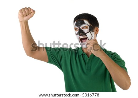 Football's fan with hands up and painted ball on face. He's on white background. - stock photo