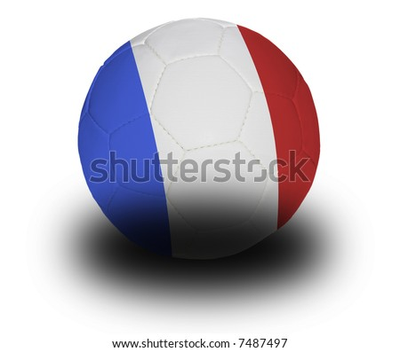 Football (soccer ball) covered with the French flag with shadow on a white background.  Clipping path included. - stock photo