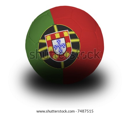 Football (soccer ball) covered with the Portuguese flag with shadow on a white background.  Clipping path included. - stock photo
