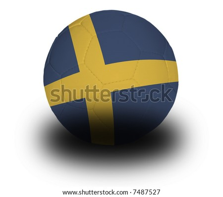Football (soccer ball) covered with the Swedish flag with shadow on a white background.  Clipping path included. - stock photo