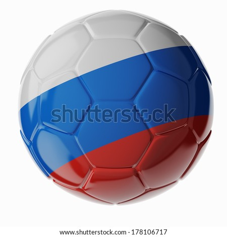 Football/soccer ball with flag of Russia. 3D render - stock photo