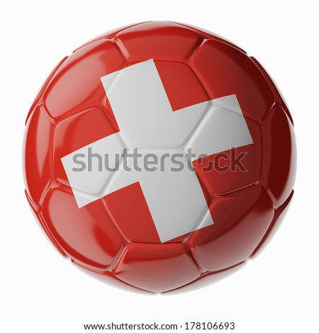Football/soccer ball with flag of Switzerland. 3D render - stock photo