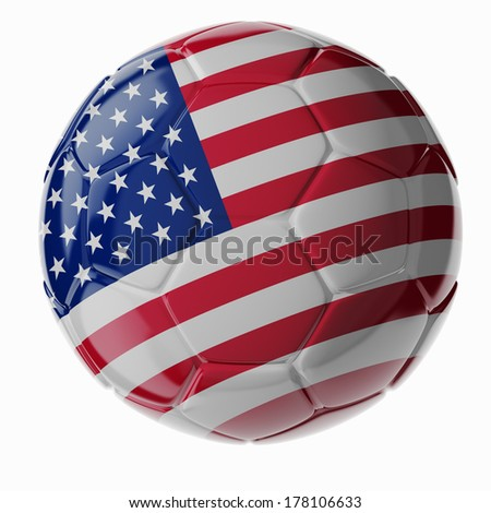 Football/soccer ball with flag of United States. 3D render - stock photo