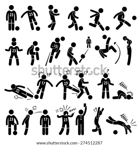 Football Soccer Player Footballer Actions Poses Stick Figure Pictogram Icons - stock photo