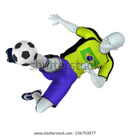 Football /Soccer player in action - Brazil - stock photo