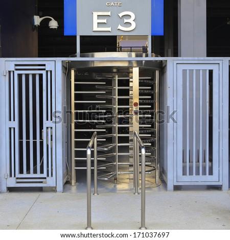 football Stadium gate for exit. - stock photo