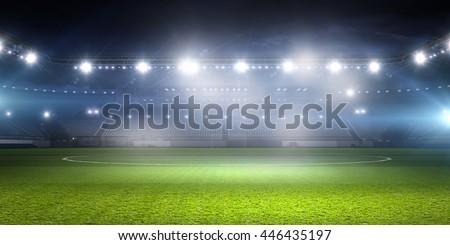 Football stadium in lights . mixed media - stock photo