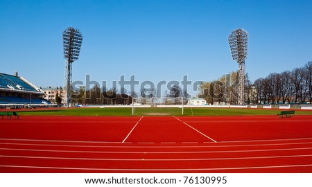 Football stadium in sunny spring day - stock photo