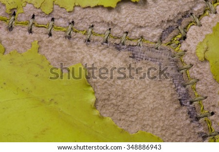 Football stitching close up - stock photo