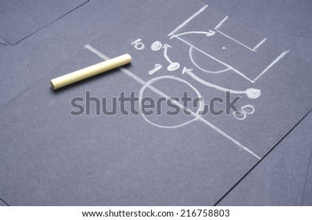 Football tactical plan for attacking: Hand drawing with chalk on the black project paper - stock photo