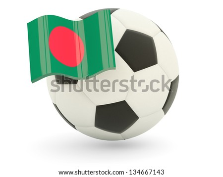 Football with flag of bangladesh isolated on white - stock photo
