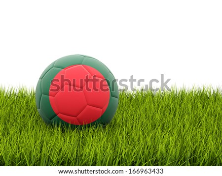 Football with flag of bangladesh on green grass - stock photo
