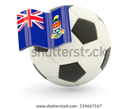 Football with flag of cayman islands isolated on white - stock photo