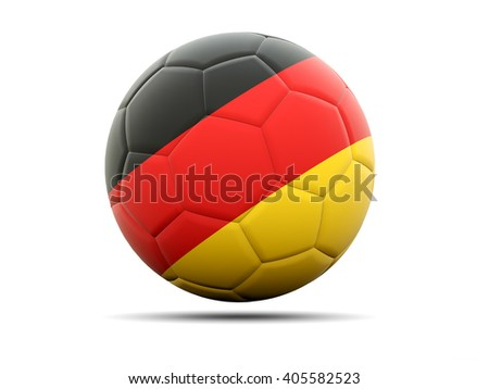 Football with flag of germany. 3D illustration - stock photo