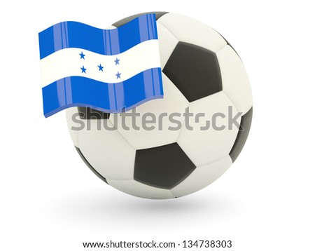 Football with flag of honduras isolated on white - stock photo