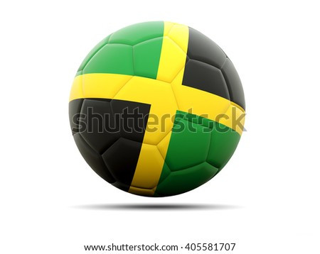 Football with flag of jamaica. 3D illustration - stock photo