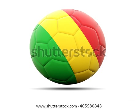 Football with flag of mali. 3D illustration - stock photo