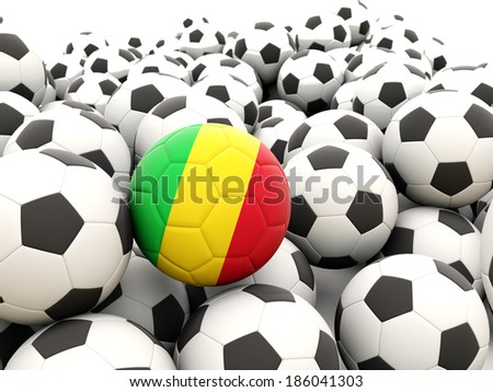 Football with flag of mali in front of regular balls - stock photo