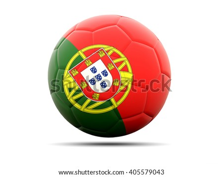Football with flag of portugal. 3D illustration - stock photo