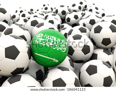 Football with flag of saudi arabia in front of regular balls - stock photo