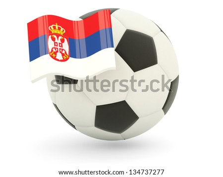 Football with flag of serbia isolated on white - stock photo