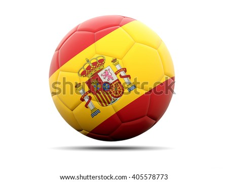 Football with flag of spain. 3D illustration - stock photo