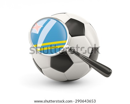 Football with magnified flag of aruba isolated on white - stock photo