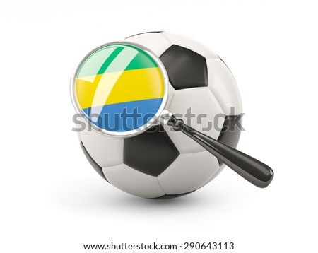 Football with magnified flag of gabon isolated on white - stock photo