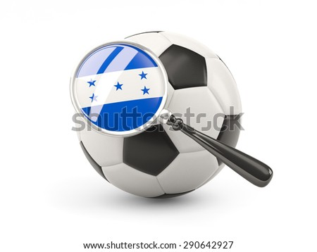 Football with magnified flag of honduras isolated on white - stock photo
