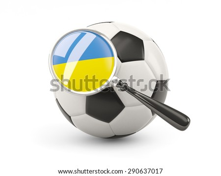 Football with magnified flag of ukraine isolated on white - stock photo
