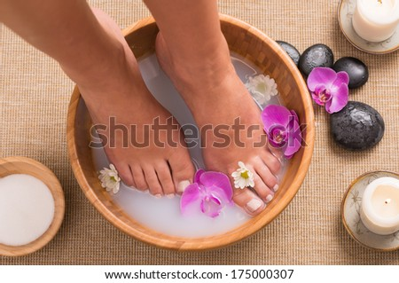Footbath With Orchid - stock photo