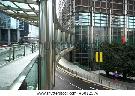 footbridge in Hong Kong - stock photo