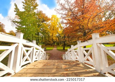 Footbridge in the autumn park. Autumn Landscape. Park in Autumn. Landscape with the autumn forest. - stock photo