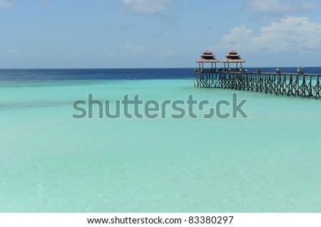 Footbridge on Maratua Island, Kalimantan, Indonesia - stock photo