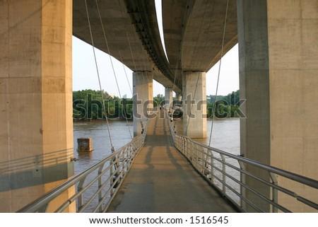 Footbridge over the James River at Sunset - Richmond, VA - stock photo