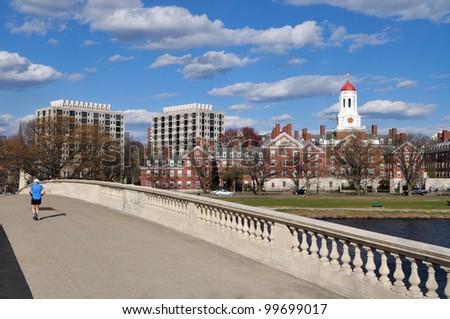 Footbridge to Harvard - stock photo