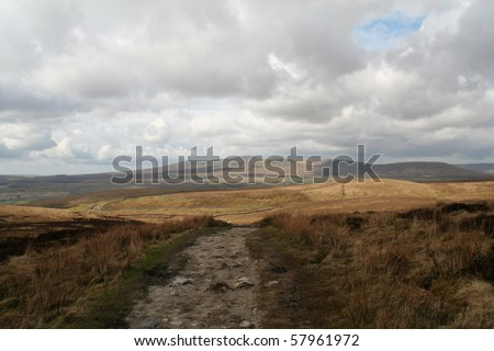 Footpath across moorland in the Yorkshire Dales going towards Ingleborough Hill in the distance. - stock photo
