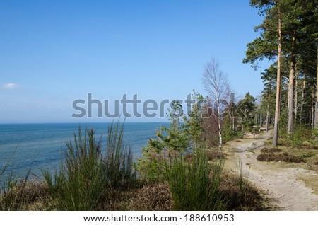 Footpath at the swedish island Oland along the coast af Baltic Sea - stock photo