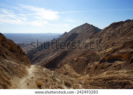 Footpath in crater RAmon in Negev desert, Israel                                - stock photo