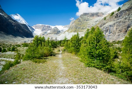Footpath in the swiss Alps, Zermatt - stock photo